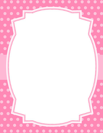 specially: Pink polka dots  background with frame. & ribbon specially occasion greeting cards & invitations