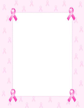 Pink breast cancer awareness ribbon patterned frame Illustration