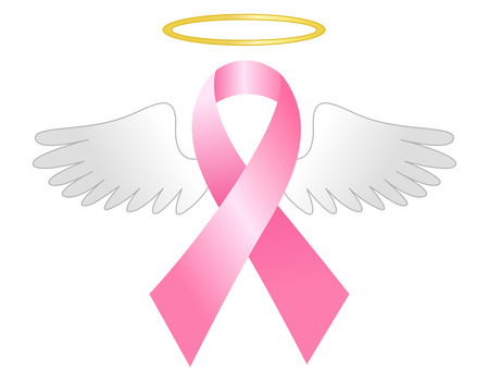 Breast cancer awareness pink ribbon with wings and golden halo isolated on white background Illustration