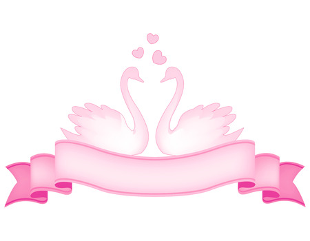 Light pink swan couple and pink ribbon banner with hearts illustration isolated on white background