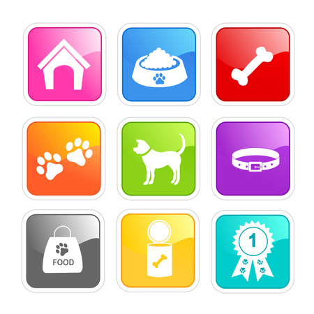 obedient: Dog icon white silhouettes collection on shiny colorful buttons web icon  button collection