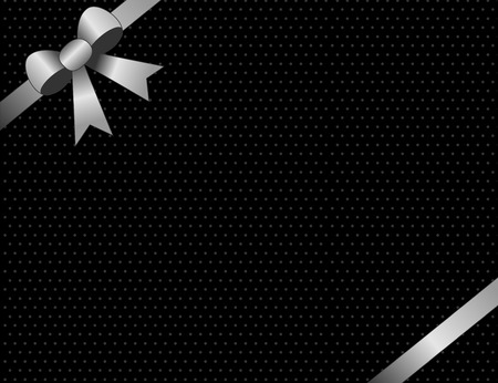 solver: Silver and black party invitation background with Silver satin ribbon bow on corners.