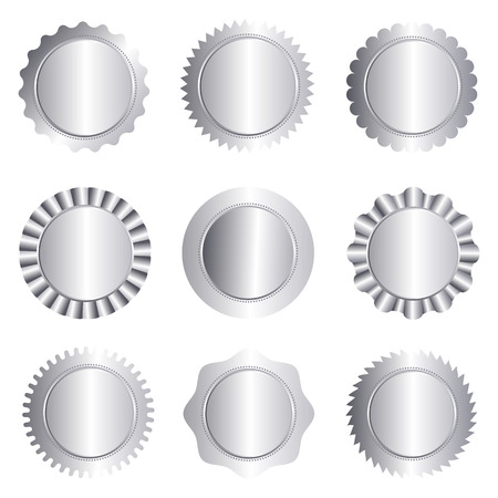 Set of different silver approval seal , stamp, badge, and rosette shapes isolated on white