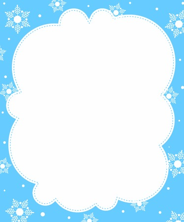 Snowflakes winter frame with empty white space on center Vectores