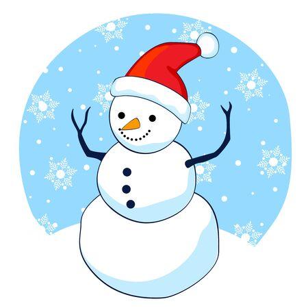 bonhomme de neige: Bonhomme de neige mignon portant un chapeau de p�re No�l sur la neige qui tombe fond illustration isol� sur fond blanc