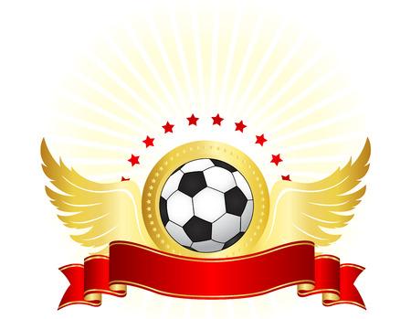 bannière football: Illustration d'un ballon de football noir et blanc aux ailes d'or et étoiles rouges bannière de ruban. design parfait pour les clubs de football logos