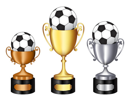 bronze medal: Gold silver and bronze champion trophy  with soccer ball on it for 1st, 2nd, and 3rd places isolated on white background Illustration