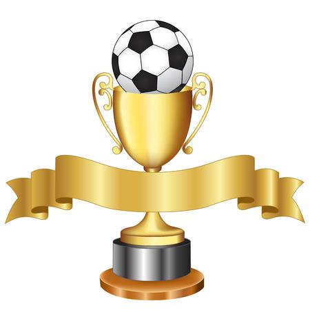 Geïsoleerde ilustratin van een gouden trofee / beker met een zwart-wit voet bal op het en gouden lint banner