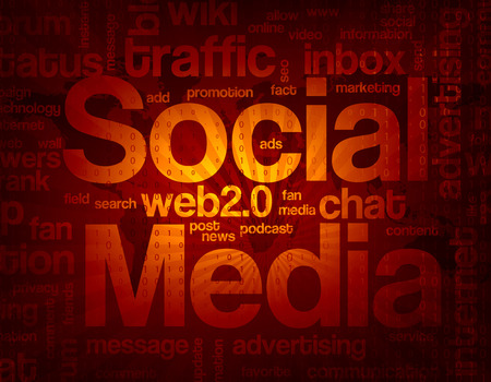 associated: Abstract social media background with words associated with the topic. Illustration