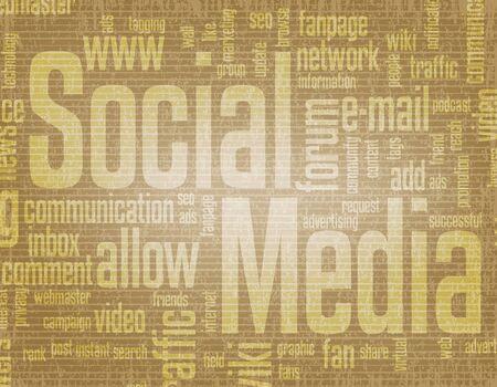 weblog: An illustration of various social media keywords.