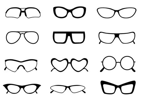 spectacle frame: Black different shaped spectacle  sunglasses frame collection isolated on white