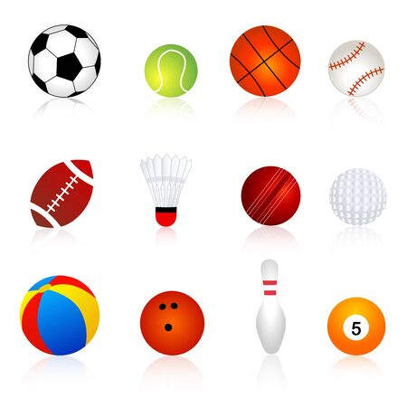 rugger: Collection of twelve different sport balls isolated on white background. Illustration