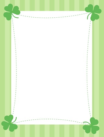 Green clover st. Patrick's Day Background / Border with green stripes background 일러스트