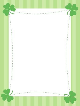 Green clover st. Patricks Day Background  Border with green stripes background Illustration