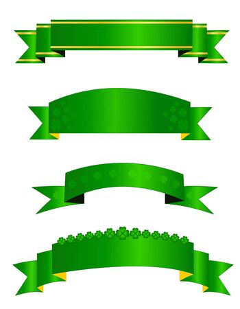 themed: St. Patricks day themed web banner  ribbon collection isolated on white background Illustration