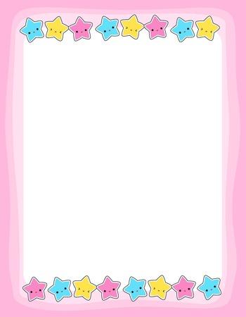 かわいいカラフルな星枠フレームの背景等をグリーティング カード、パーティの招待状