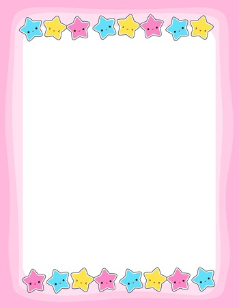 Cute colorful stars border / frame for greeting cards, party invitation backgrounds etc