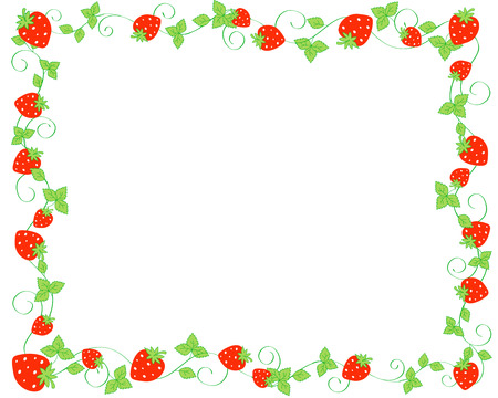 Red strawberries background / frame Vectores
