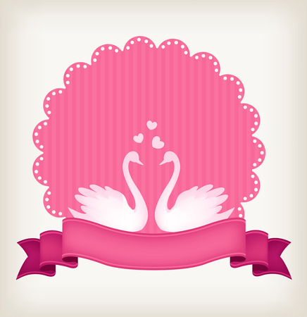 wedlock: White swan couple on pink striped lace background with a ribbon banner Illustration