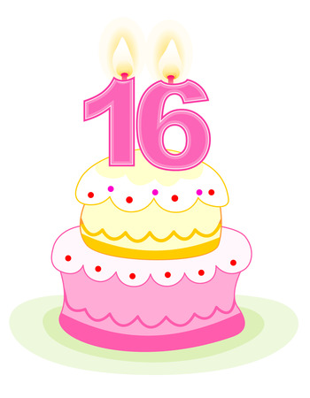 sixteen: Sweet sixteen layered birthday cake with numeral candles isolated on white