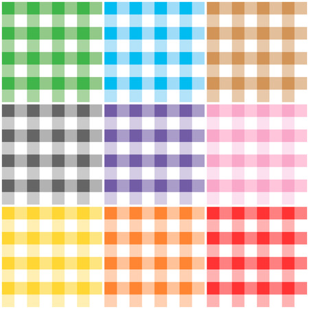 Gingham patterns  textures in different colors for Thanksgiving, home decorating, napkins, tablecloths, picnics. arts, crafts and scrap books. Vector