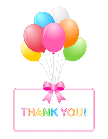 thank you note: Thank you card with bunch of balloons and pink ribbon bow with thank you note