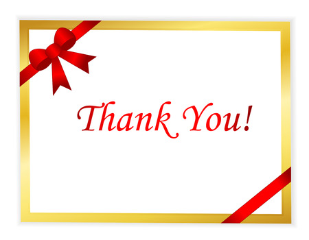 manners: Elegant gold thank you card with red ribbon and shiny red thank you text in middle