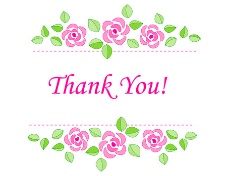 politeness: Thank you card with beautiful pink roses isolated on white background