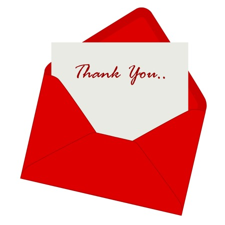 Thank you note inside a red envelope illustration isolated on white background