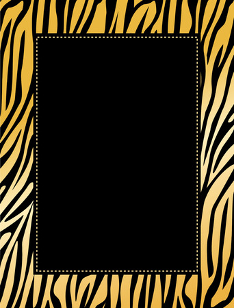 Leopard  / zebra print border / frame. Animal skin print texture Illustration