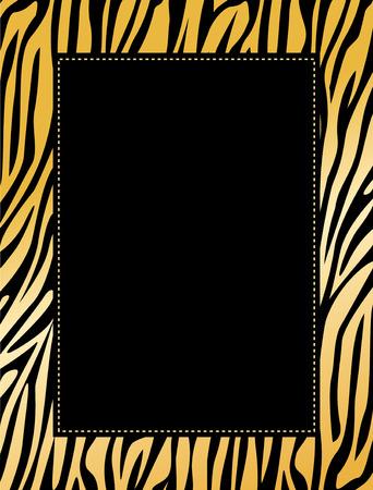Leopard  / zebra print border / frame. Animal skin print texture Vettoriali