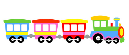 Cute colorful kids toy train isolated on white background illustration