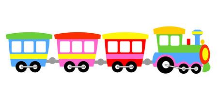 locomotora: Niños coloridos tren lindo juguete aislado en el fondo blanco Ilustración
