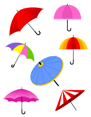 Colorful different shaped umbrella collection isolated on white Vector