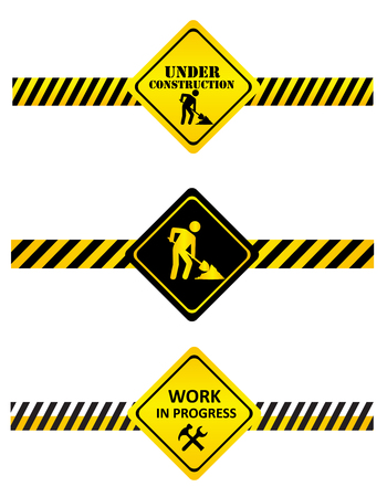 A set of under construction signs and tapes. Vector