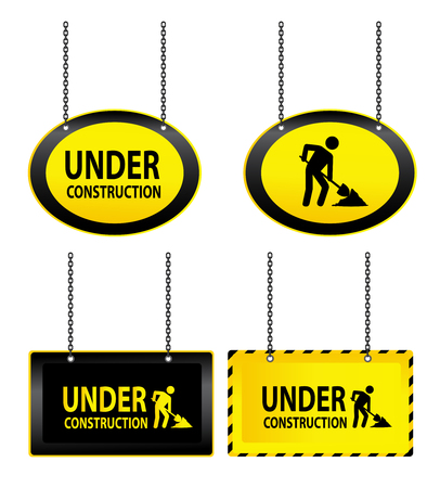 illustrated: Illustrated set of hanging under construction signs isolated on a white background.