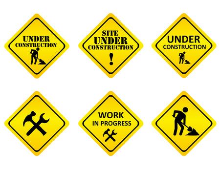 Amarillo en signos gráficos de color negro o iconos que indican un sitio web está bajo construcción o en desarrollo. aislado en fondo blanco Ilustración de vector