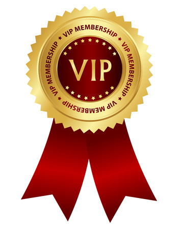 only members: Gold and red award ribbon rosette with VIP membership text inside isolated on white background Illustration