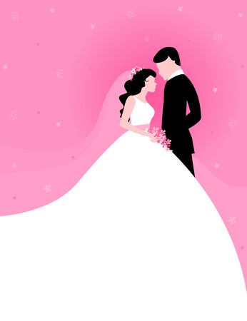 bride groom silhouette: Silhouette of a beautiful bride and groom looing at each other clipart on pink floral background