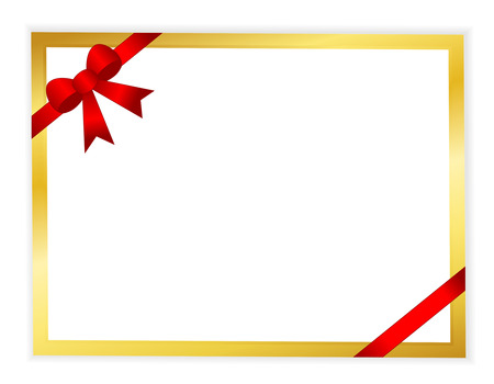 wedlock: Red ribbon bow with white paper background with golden frame invitation specially for wedding