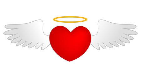 angelic: Heart graphic design with angle wings and golden halo.