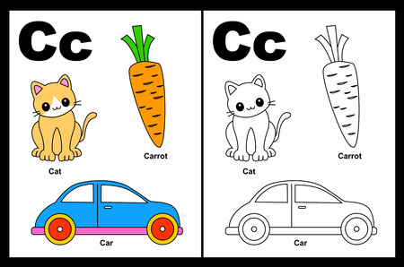 Kids alphabet coloring book page with outlined clip arts to color. Letter C