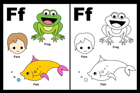Kids alphabet coloring book page with outlined clip arts to color. Letter G