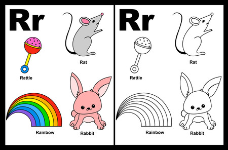 Kids alphabet coloring book page with outlined clip arts to color. Letter R Çizim