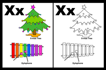 x mas: Kids alphabet coloring book page with outlined clip arts to color. Letter X Illustration