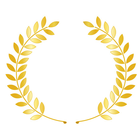 distinction: Illustration of a gold laurel   wreath isolated on white background