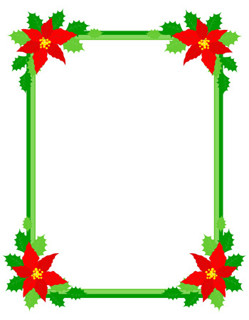 Green christmas frame with poinsettia flowers on edges  イラスト・ベクター素材