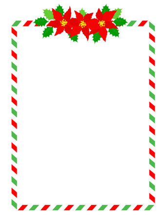 Retro striped candycane frame with poinsettia flowers on top middle isolated on white Vectores
