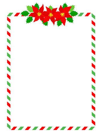 Rétro rayé cadre candycane avec des fleurs de poinsettia sur haut milieu isolé sur blanc Banque d'images - 38909404