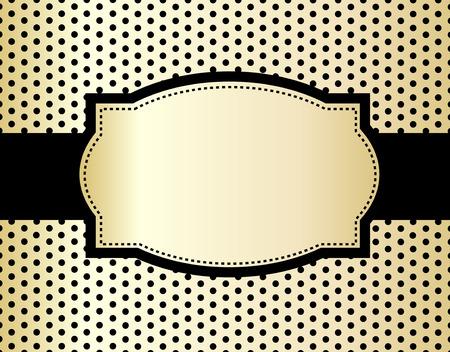 Black polka dots design and frame on golden background Vector